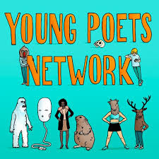 various characters imagined and real on a blue background in front of text reading young poets network