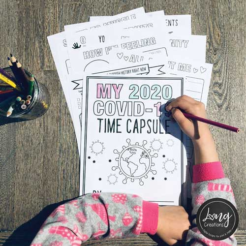 child making covid time capsule