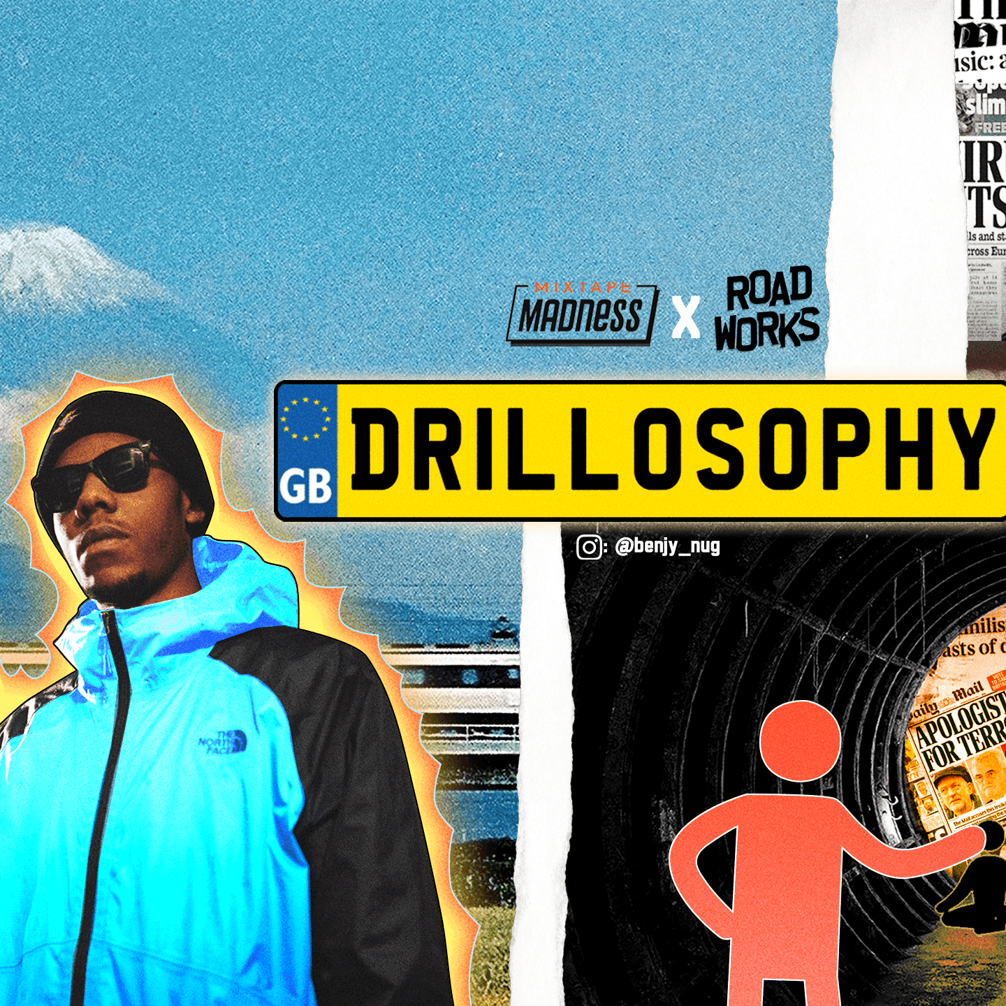 young man standing next to drillosophy sign