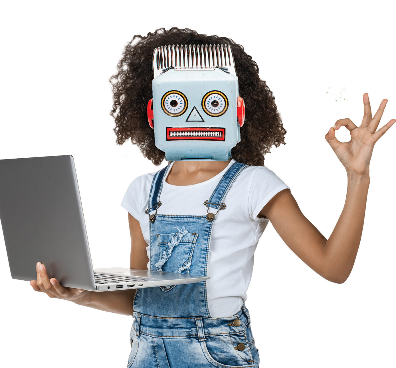 A New Direction image of a child with posing an OK sign with a Robot mask doing coding.jpg